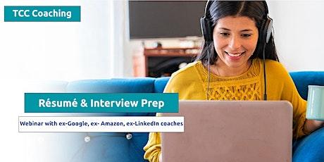 Résumé Template & Interview Prep: ex-Google & Amazon Coaches Webinar bilhetes