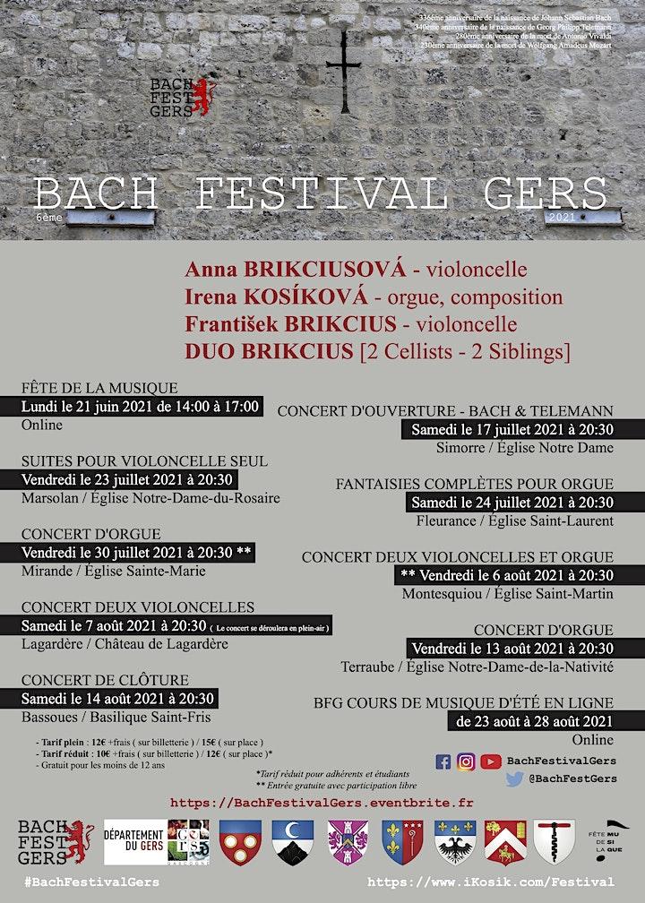6ème BACH FESTIVAL GERS 2021 - CONCERT D'ORGUE / Irena KOSÍKOVÁ image