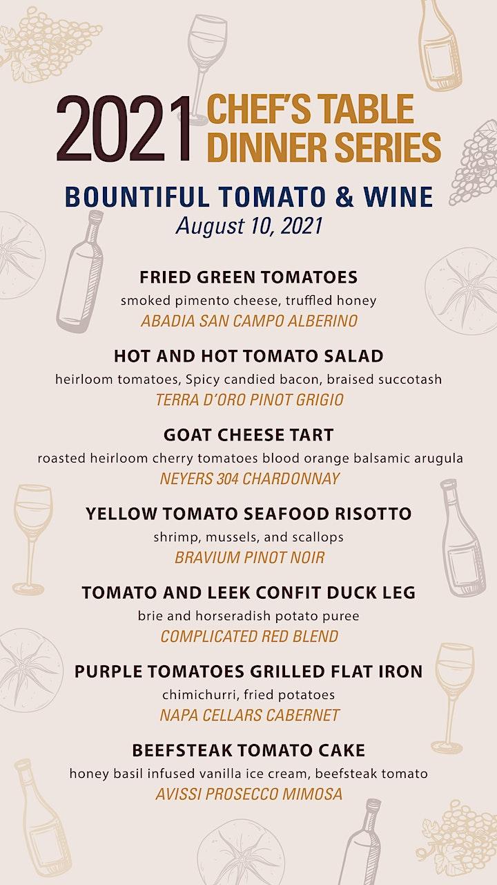 Bountiful Tomato & Wine Chef's Table Dinner image
