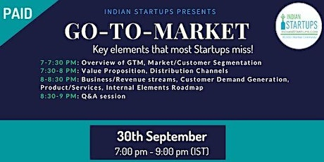 GO-TO-MARKET ( Key elements that most Startups MISS! ) tickets