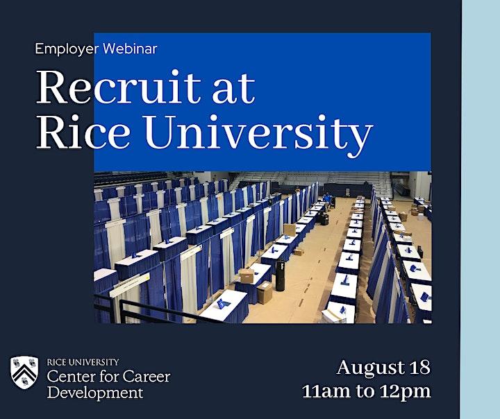 Employer Webinar: Recruit at Rice University image