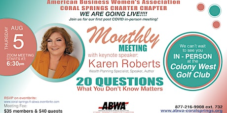 ABWA Coral Springs August, 2021 Monthly Meeting tickets