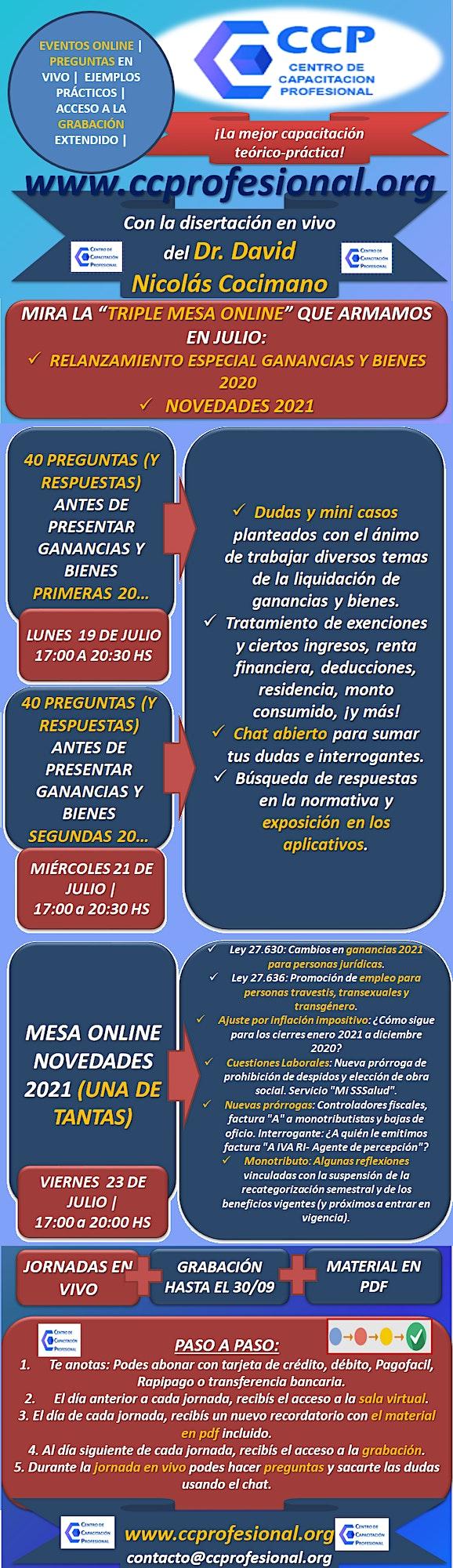 Imagen de JORNADAS ESPECIALES GANANCIAS 2020 + NOVEDADES 2021