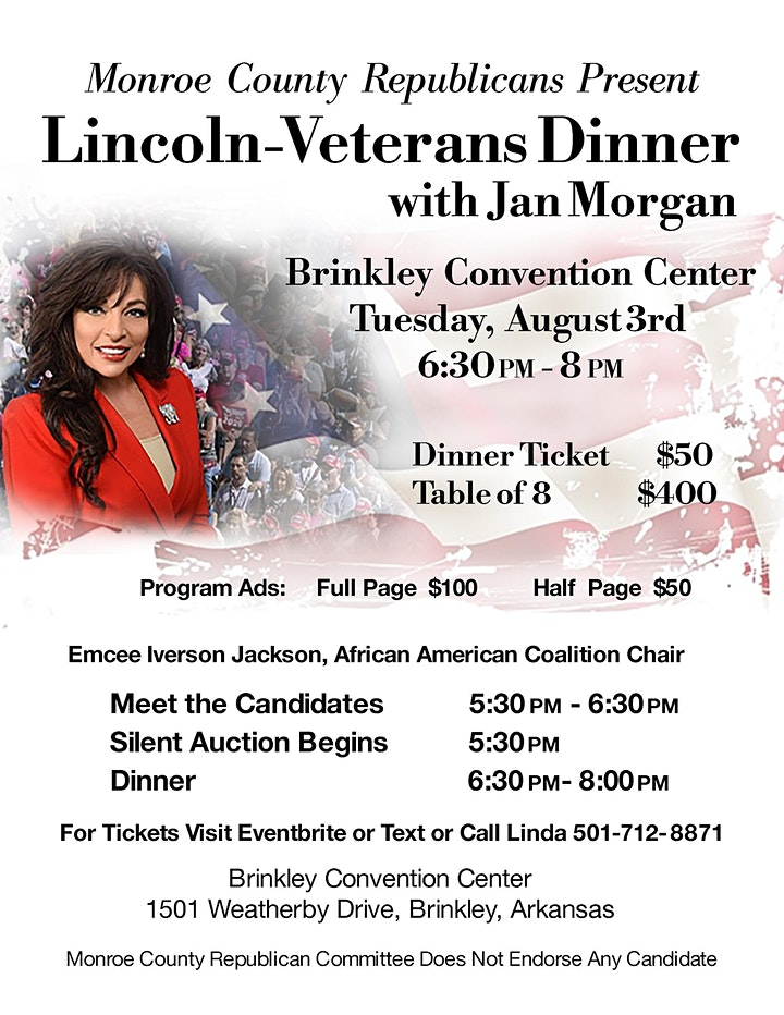 Lincoln-Veterans Dinner with Jan Morgan Presented by Monroe Co Republicans image