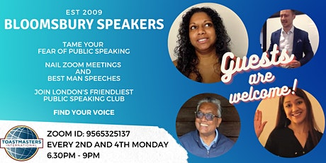 Practice Public Speaking and Presentation Online with Bloomsbury Speakers! tickets