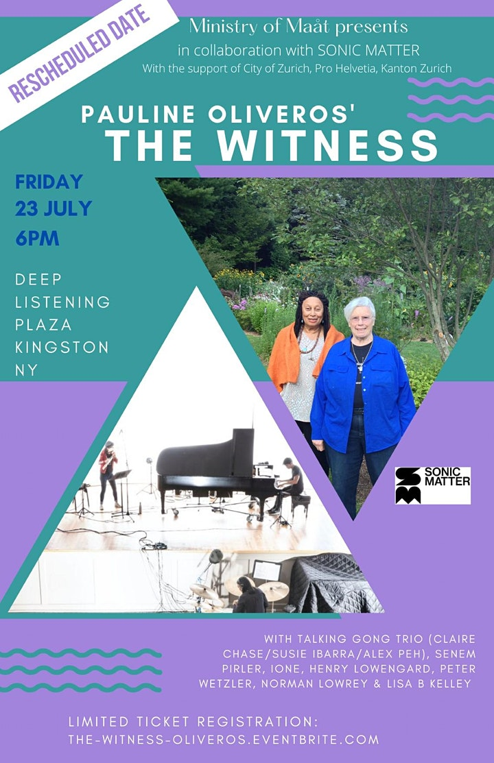 RAIN DATE: THE WITNESS by Pauline Oliveros; Talking Gong; Kingston NY image