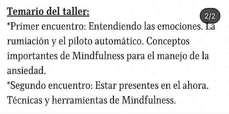 Taller de Mindfulness para el manejo de la ansiedad boletos