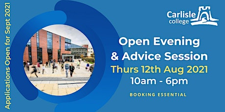 Carlisle College: Open Day & Advice Session - Thursday 12th August 2021 tickets