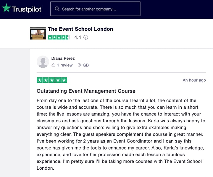 Certificate in Event Management, 5-Day Course in London, August image