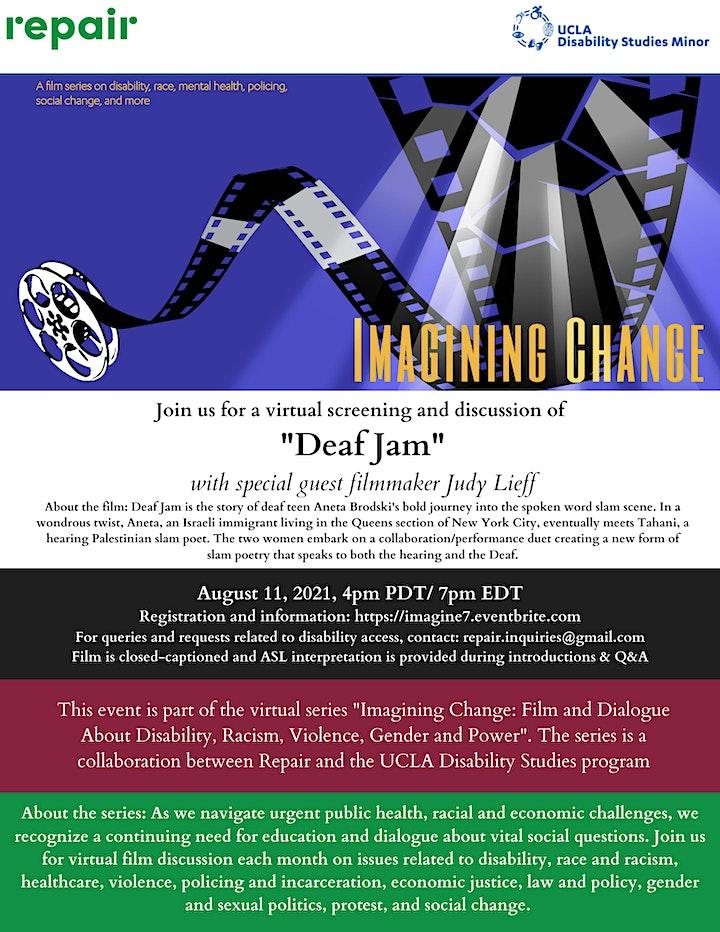 """Imagining Change Film Series -- """"Deaf Jam"""" image"""