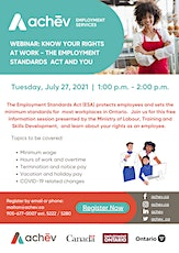 The Employment Standards Act - Know Your Rights in the Workplace! tickets