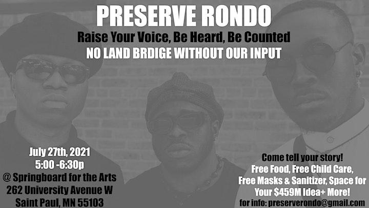 Preserve Rondo: Raise Your Voice, Be Heard, Be Counted - No Land Bridge w/o image