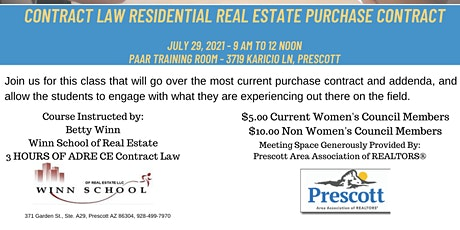 Live CE Class 7/29! Contract Law Residential Real Estate Purchase Contract tickets