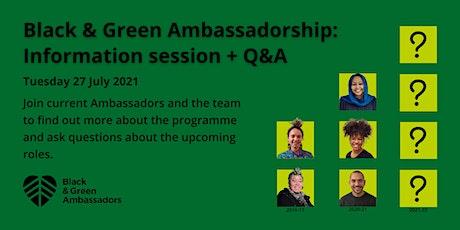 Black & Green Ambassadors for Bristol 2021 Recruitment: Info Session + Q&A tickets