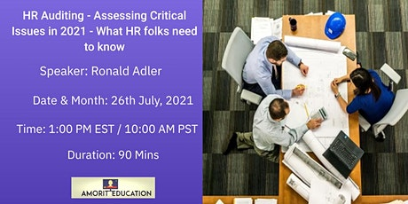 HR Auditing - Assessing Critical Issues in 2021 -What HR Folks should know? tickets
