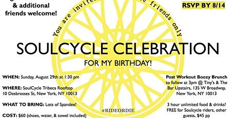 Andrea's 30th Birthday SoulCycle Ride & Boozy Brunch tickets