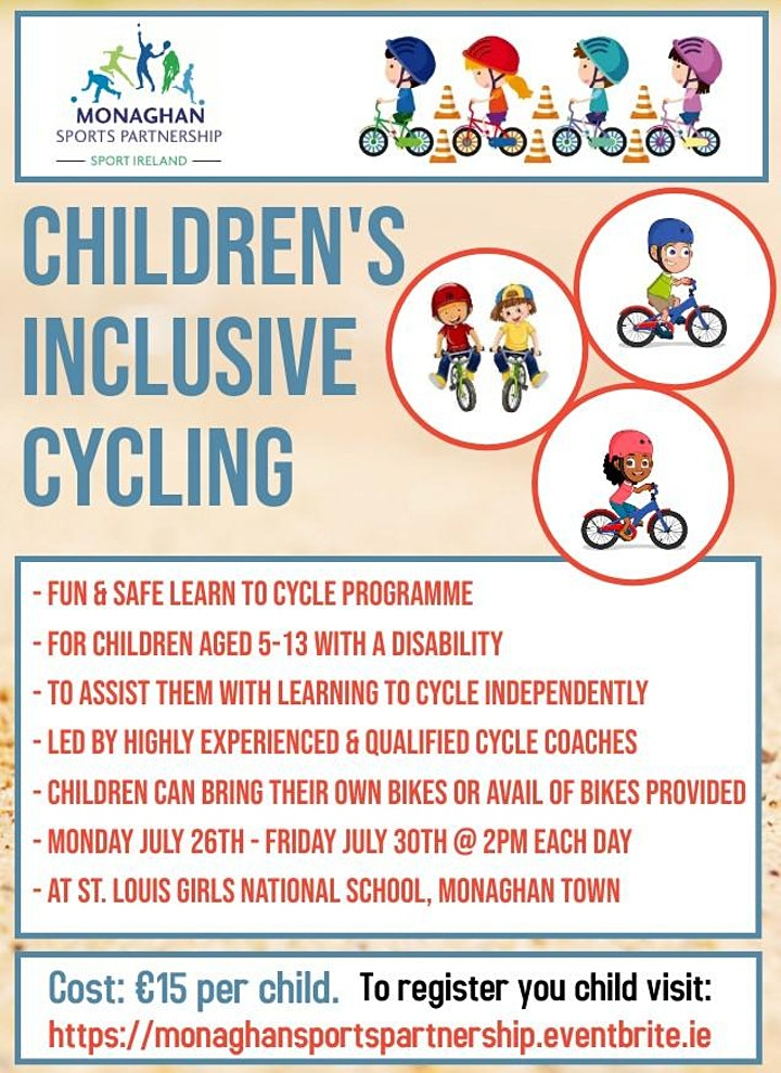 Inclusive Cycling for children with a disability Mon 26th-Fri 30th July image