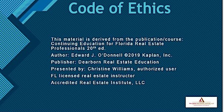 Code of Ethics for FL Real Estate Professionals-3HR CEs tickets