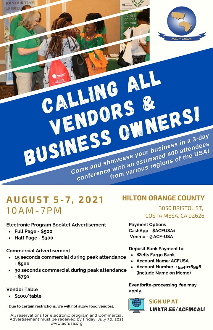 Vendor Fair! Advertise your business. August 5-7, 2021 image