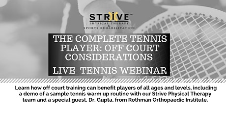 The Complete Tennis Player: Off Court Considerations tickets