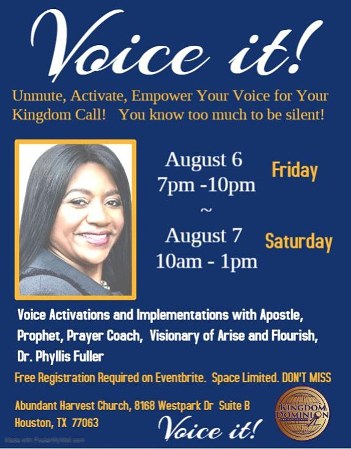 VOICE IT!   Your Time and Turn to be Heard.  Confidence Coaching  w/Dr.Phyl image