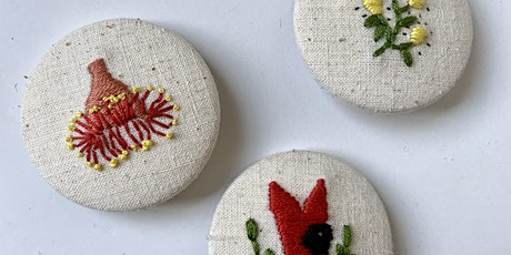 Embroider Australian flowers and make a brooch tickets