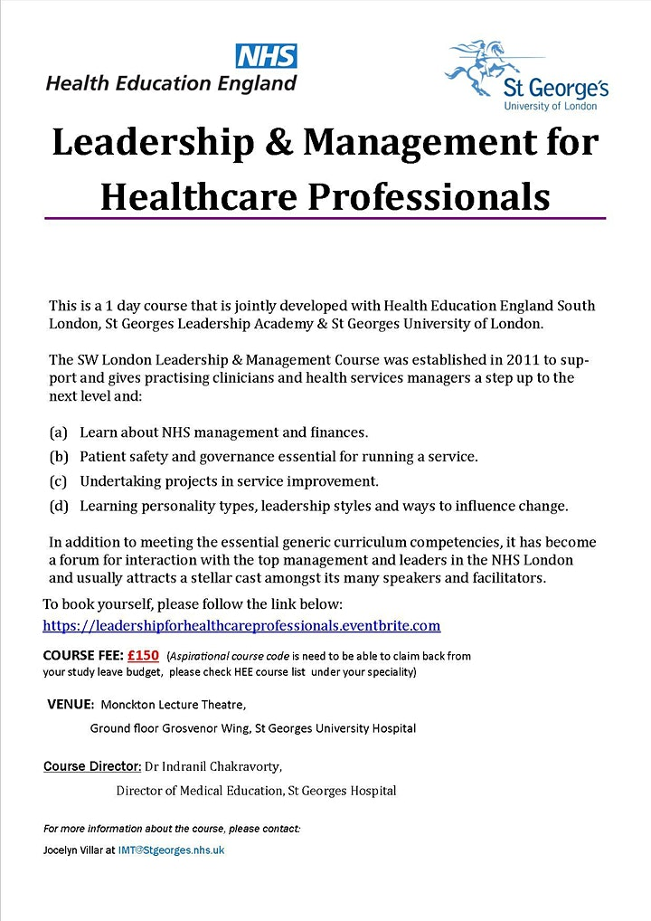 Leadership & Management Course for Healthcare Professionals image