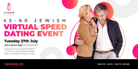 Isodate's 45-60 Jewish Virtual Speed Dating tickets