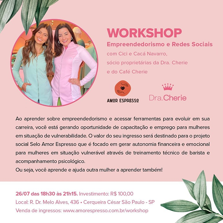 Imagem do evento Workshop - Empreendedorismo e Rede Sociais com Cici e Cacá Navarro