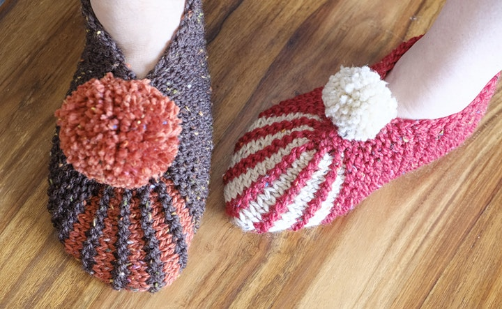 Knit your own pompom slippers with Fiona Drake! image