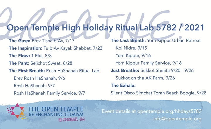 Open Temple High Holiday Ritual Lab 5782: Breathe image
