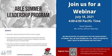 ABLE 2021 Summer Program – Learning from Successful Professionals tickets