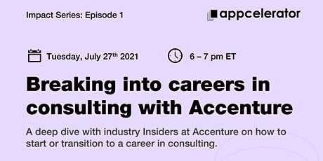 Appcelerator: Breaking into careers in consulting with Accenture tickets