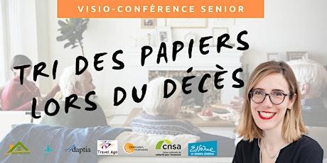 Visio-conférence senior  GRATUITE - Trier les papiers liés au décès billets