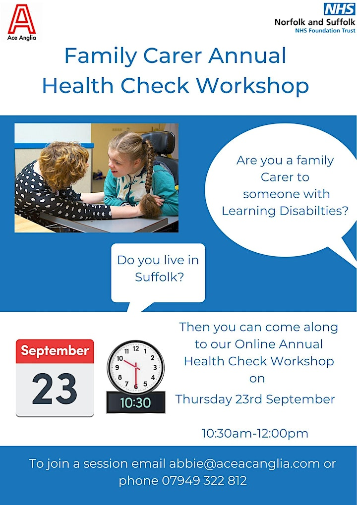 Online Annual Health Check Workshop for Family Carers image