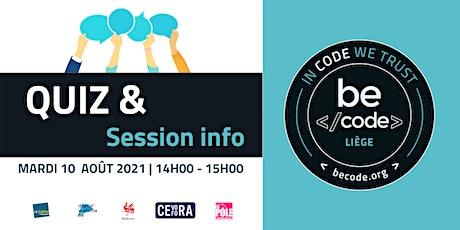 BeCode Liège - Info session Junior developer & Quiz Tickets