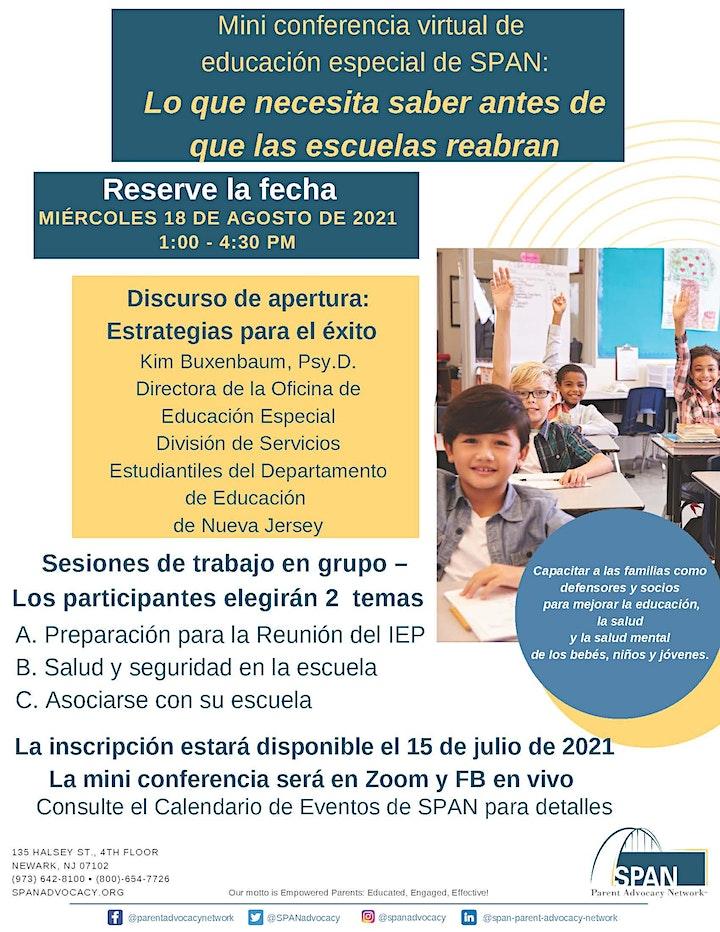 Imagen de Mini conferencia virtual de educación especial de SPAN