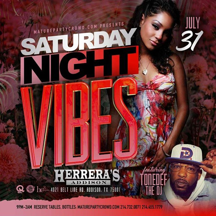 SATURDAY NIGHT VIBES @ HERRERA'S ADDISON w/TONEDEF THE DJ image