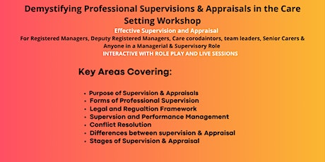Demystifying Professional Supervisions and Appraisals in a Care Setting tickets