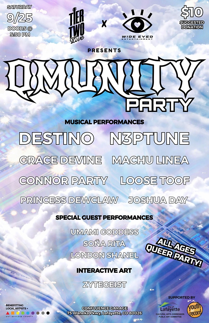 Wide Eyed Entertainment x Tier Two Live Present: QMUNITY PARTY image