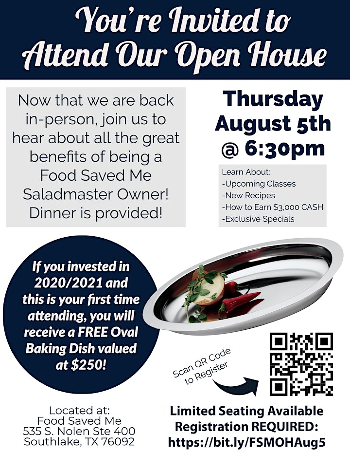 Saladmaster Owners ONLY: Food Saved Me Open House image