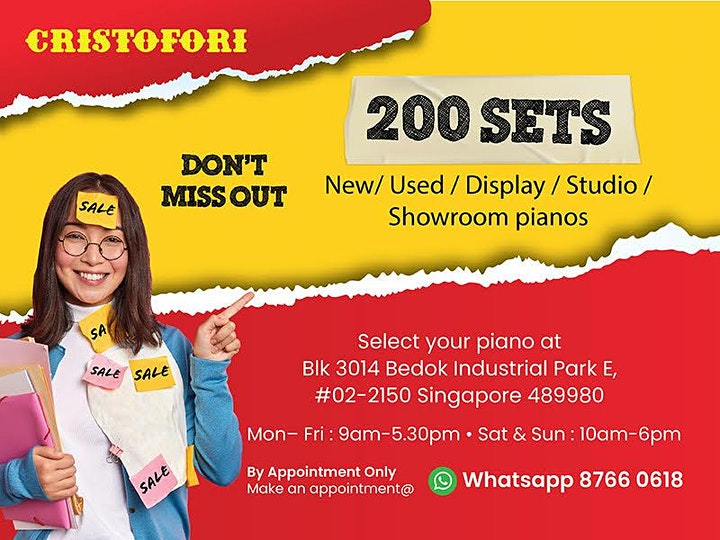 CRISTOFORI WAREHOUSE CLEARANCE SALE @  SINGAPORE'S LARGEST PIANO SHOWROOM! image