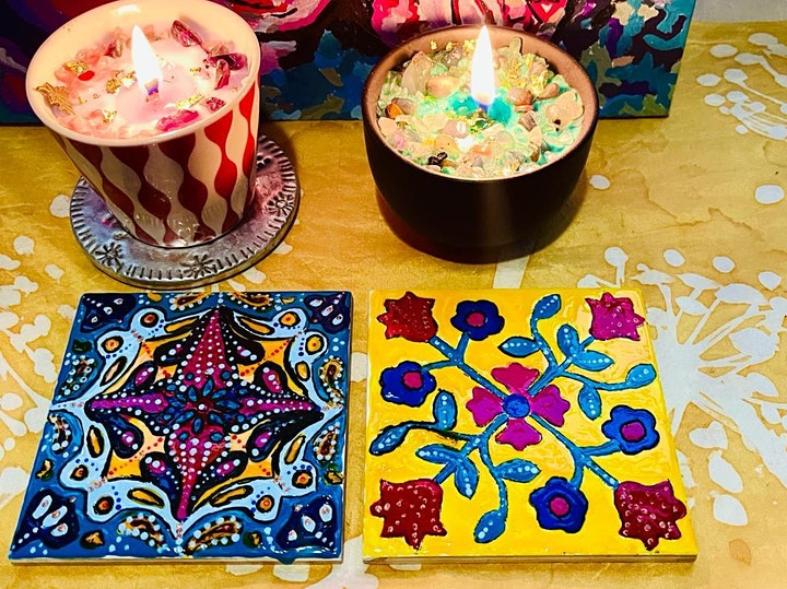 2.5 hours Ceramic Tile Painting workshop image