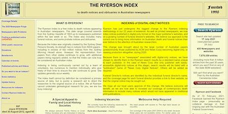 Hawkesbury Family History Group mtg - Ryerson Index - via Zoom tickets