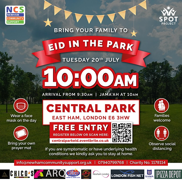 Eid Prayer at Central Park, East Ham, London - 10:00am Tues 20th July 2021 image