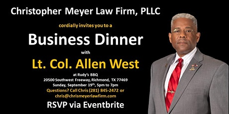 Business Dinner with Lt. Col. Allen West tickets