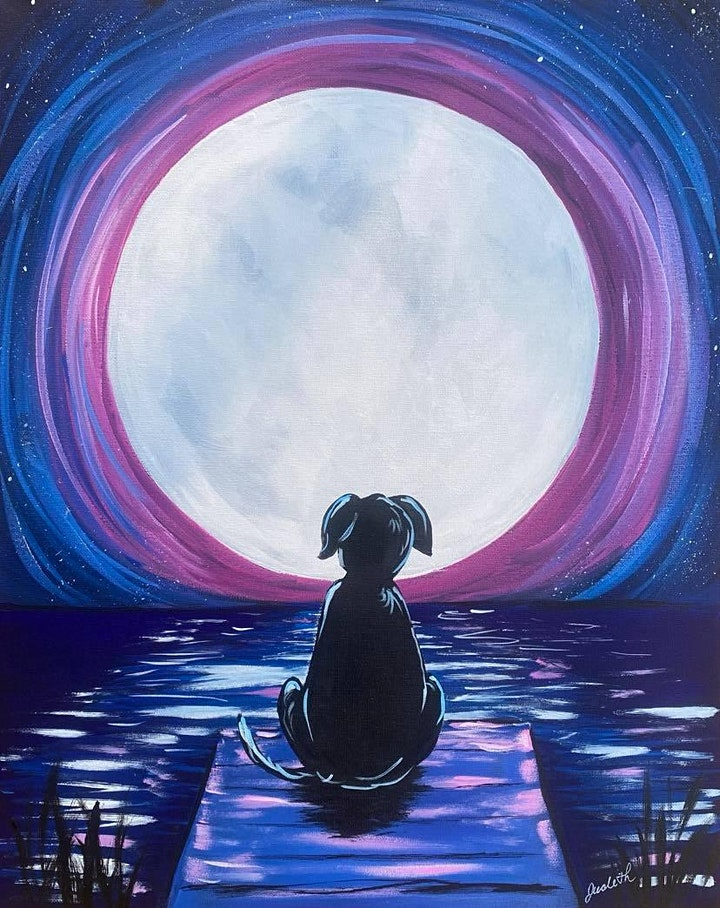Paint Night in Rockland - Dog on the lake at G.A.B.'s image