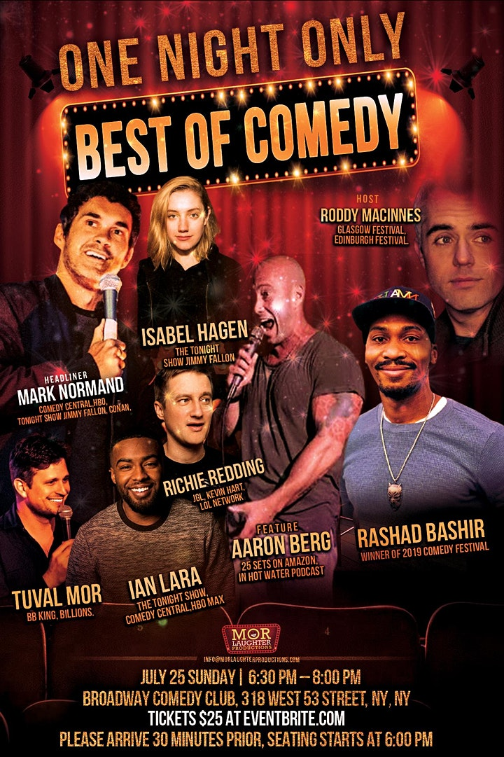 """Stand-Up Comedy Show- """"Best Of Comedy"""" at Broadway Comedy Club  - July 25th image"""