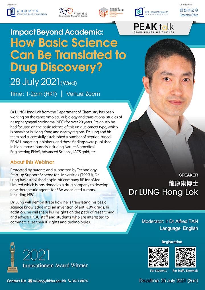 [PEAK Talk] Speaker: Dr LUNG Hong Lok Impact Beyond Academic image