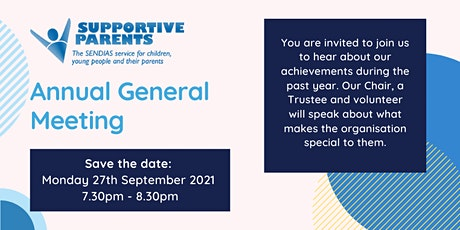 Save the date: An evening with Supportive Parents - virtual AGM tickets